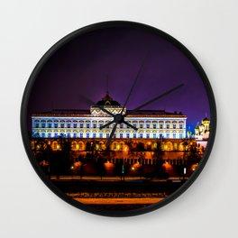 Grand Kremlin Palace At Winter Night Wall Clock