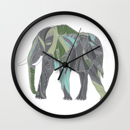 Elephant with Green and Turquoise Wall Clock