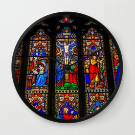 INRI Stained Glass Wall Clock