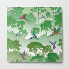 Macaw Canopy // Green Metal Print