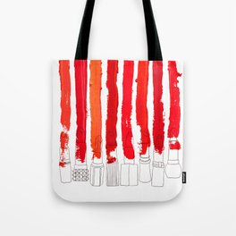 Lipstick Stripes - Red Shades Tote Bag