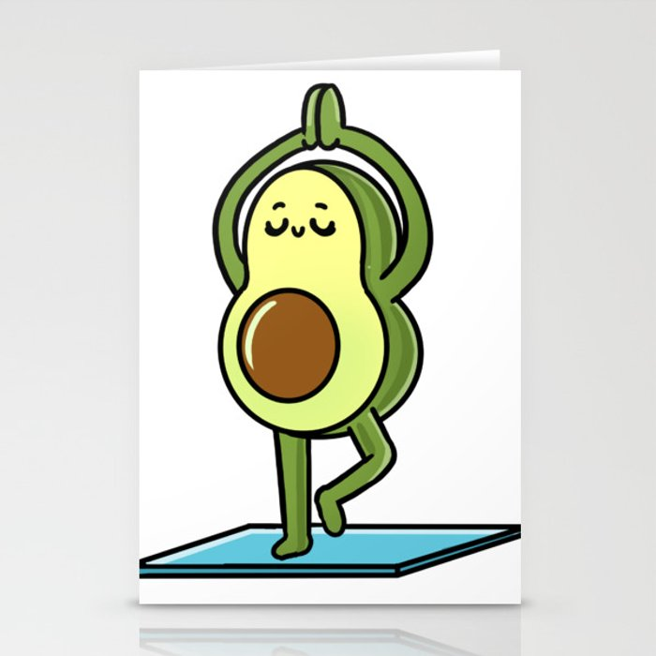 Avocado Yoga Avocado Lover Stationery Cards