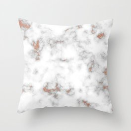 Rose gold gray and white marble Throw Pillow