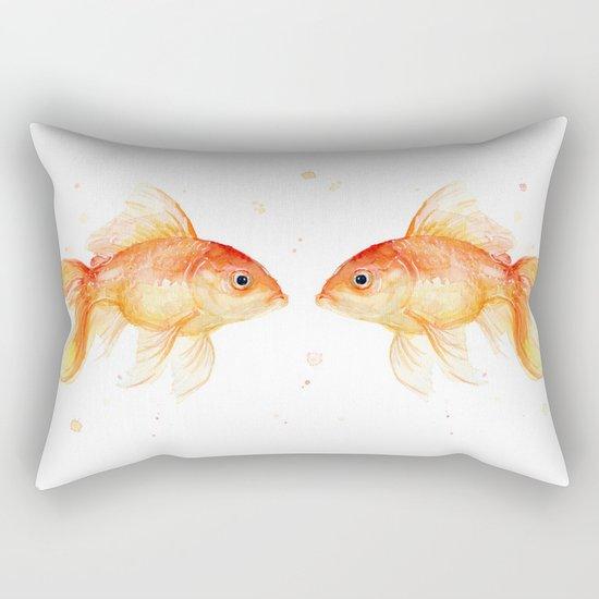 Goldfish Love Watercolor Fish Painting Rectangular Pillow