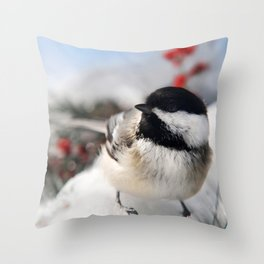 Christmas Chickadee Throw Pillow