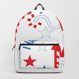 FIREWORK TECHNICIAN RED WHITE AND BLUE T-SHIRT Backpack