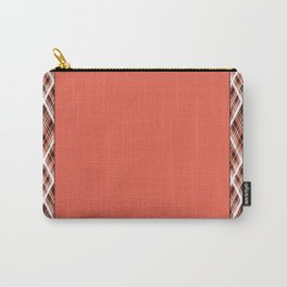 Coral, white ,black tartan. Carry-All Pouch