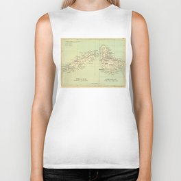 Vintage Map of Barbados and Tobago (1853) Biker Tank