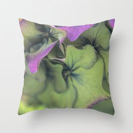 green hydrangea Throw Pillow