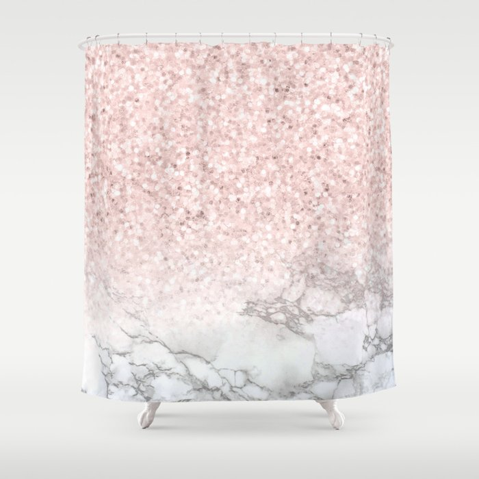 Pretty Rosegold Marble Sparkle Shower Curtain