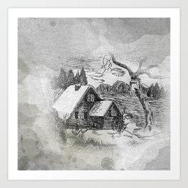 ink sketch - village in winter -1- Kunstdrucke
