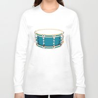 drum Long Sleeve T-shirts featuring Drum - Red by Ornaart