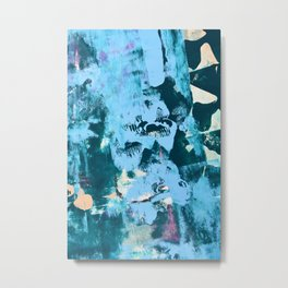 022: a vibrant abstract design in teal blue and peach by Alyssa Hamilton Art  Metal Print