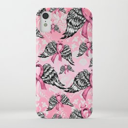 Breast cancer awareness winged ribbons pattern.  iPhone Case
