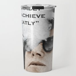 John F Kennedy Cigar and Sunglasses 3 And Quote Travel Mug