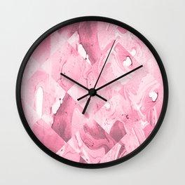 Pink Geometric Marble texture pattern Wall Clock