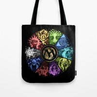 magic the gathering Tote Bags featuring Magic the Gathering - Faded Guild Wheel by omgitsmagic