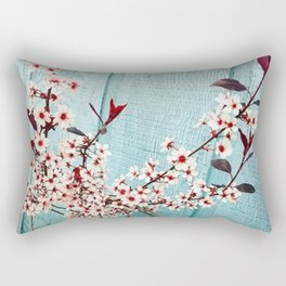Teal Blossoms Rectangular Pillow