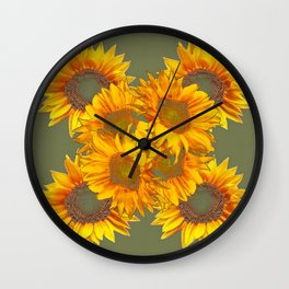 Golden Sunflowers on Putty Color  Art Wall Clock
