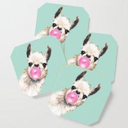 Bubble Gum Sneaky Llama in Green Coaster