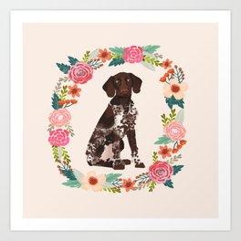 german shorthair pointer floral wreath spring dog breed pet portrait gifts Art Print