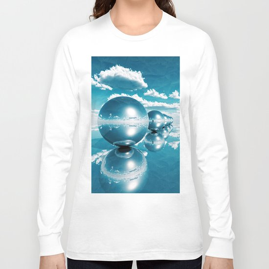 blue spheres in line paper Long Sleeve T-shirt