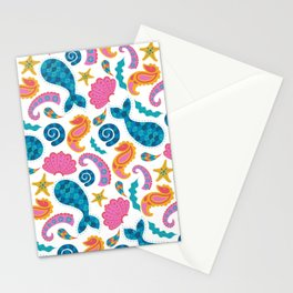 Pink and  Blue Marine Paisley Pattern Stationery Cards