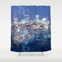 minneapolis Shower Curtains featuring Minneapolis Neon by Andrew C. Kurcan