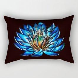 Multi Eyed Blue Water Lily Flower Rectangular Pillow