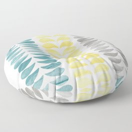 Simple Turquoise Yellow Gray Print Floor Pillow