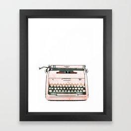 Simple Modern Retro Pop Art Pink Typewriter Print Framed Art Print