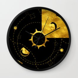 Solar Eclipse black gold Wall Clock