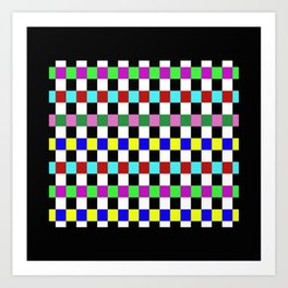 Retro 3 - Abstract, multicoloured, bold, chekkered, checkered pattern Art Print