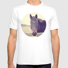 Hello Horse  White Mens Fitted Tee MEDIUM