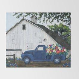 Flower Farm Truck Throw Blanket