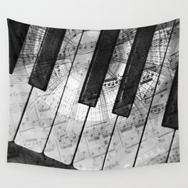Piano Keys black and white Wall Tapestry
