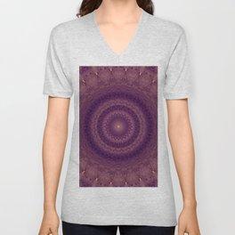 Mandala in pink, violet and red tones Unisex V-Neck