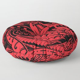 Hawaiian - Samoan - Polynesian Red Tribal Print Floor Pillow