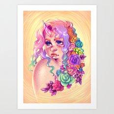 Succulent Unicorn Art Print