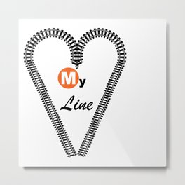 Heart My Line Metal Print
