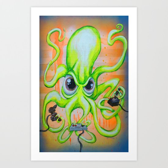 Video Game Playing Octopus Art Print