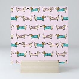 Cute dachshunds Mini Art Print