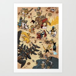 CAT VS MICE Art Print