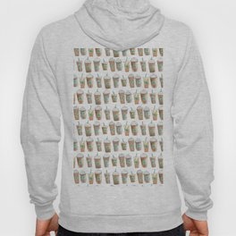 Coffee Cup Line Up in White Cream Hoody