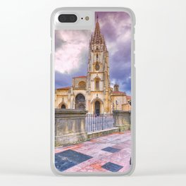 Cathedral of San Salvador  in Oviedo. Clear iPhone Case
