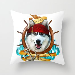 Pirate Husky Sailor Soul of Freedom Throw Pillow