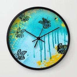Teal Sky Tangerine Petals Wall Clock
