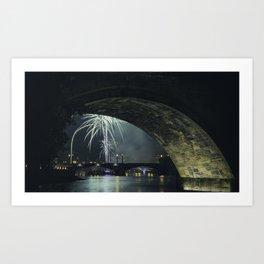 Fireworks by Charles Bridge Art Print