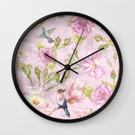 Floral painterly background in pink with Roses Flowers and Birds Wall Clock