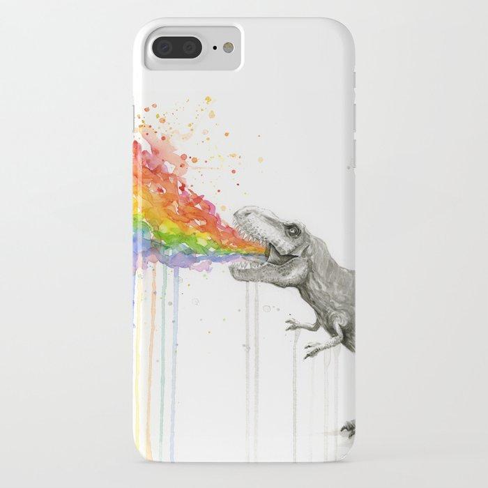 t-rex dinosaur rainbow puke taste the rainbow watercolor iphone case